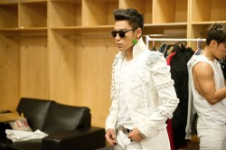 "T.O.P. ready for the show,  ""Fantastic Baby."
