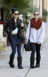 Vanessa & Stella Hudgens - head to pilates class in Studio City 1/10/13