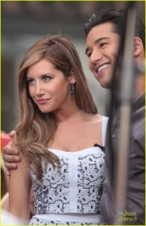 Ashley Tisdale - on the set of Extra in LA 4/2/13