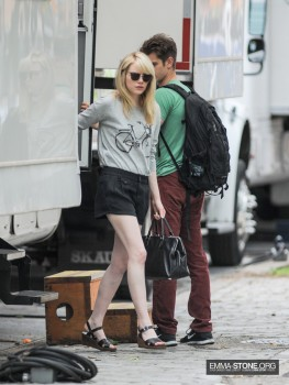 Emma Stone leggy candids leaving the TASM2 set June 2