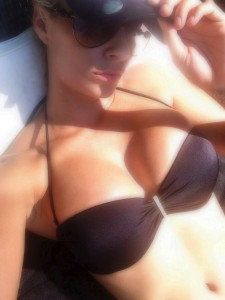 Maryse Ouellet Black Bikini Photos x 2