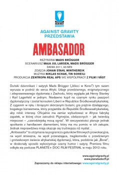 Tył ulotki filmu 'Ambasador'