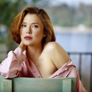 ANNETTE BENING photoshoot - pink shirt - off the shoulder