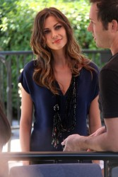 Olga Fonda - on the set of Extra in LA 10/1/13