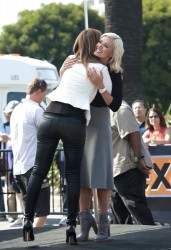 Maria Menounos & Katherine Jenkins - on the set of Extra in LA 10/2/13