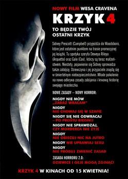 Tył ulotki filmu 'Krzyk 4'