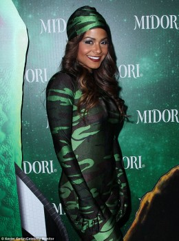 Christina Milian - Midori  Green Halloween Party in skintight camouflage bodysuit x 6