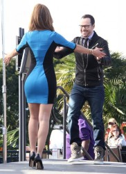 Maria Menounos - on the set of Extra in LA 11/11/13